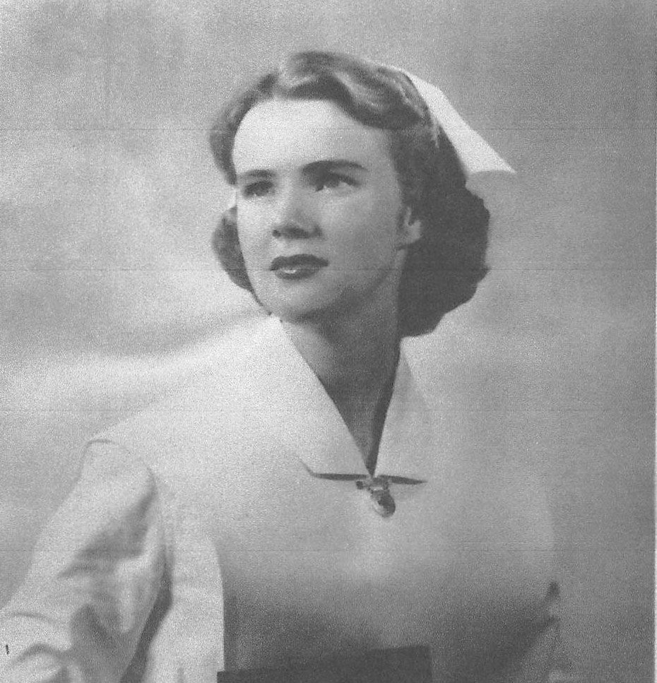 Margot Bentley is shown in this image from 1950 when she worked as a nurse.