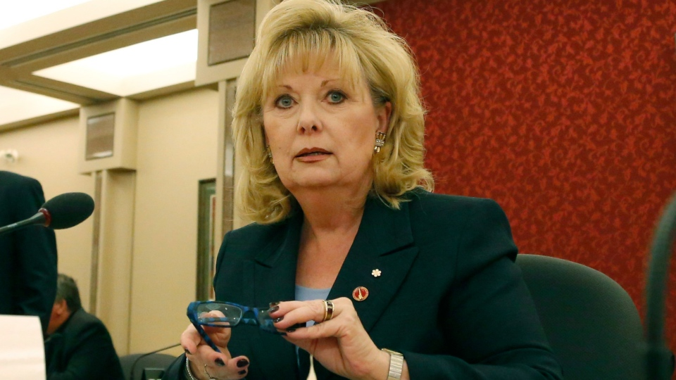 Senator Pamela Wallin appears at a Senate committee hearing on Parliament Hill in Ottawa on Monday, Aug. 12, 2013. (Patrick Doyle / THE CANADIAN PRESS)