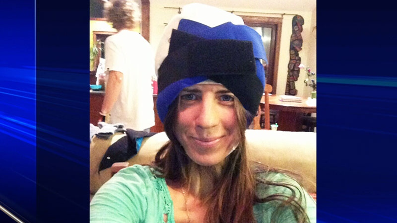 Former pro-snowboarder Megan Pischke is seen in this undated image wearing the cold cap.