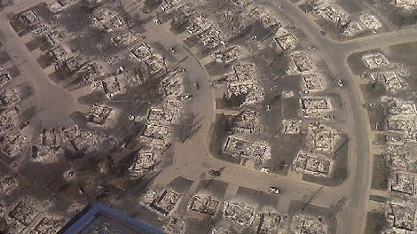 An aerial view of a Slave Lake southeast neighbourhood is shown after wildfires blazed through 2,700 hectares of land. Courtesy: Chantal Tkatch