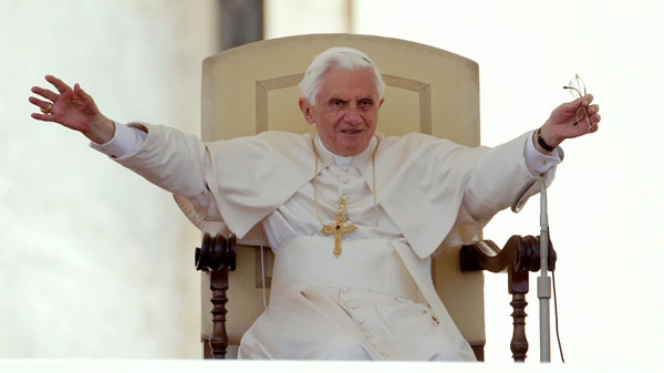 Pope Benedict XVI acknowledges the crowd during his weekly general audience in St. Peter's Square, at the Vatican, Wednesday, May 11, 2011. (AP / Pier Paolo Cito)