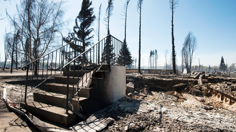 All that remains of a house in Slave Lake, Alta., on Monday, May 16, 2011 is a set of steps. (Ian Jackson / THE CANADIAN PRESS)