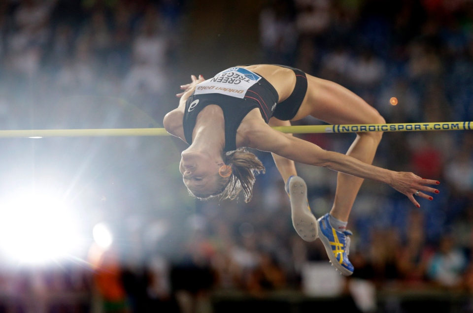 Sweden's Emma Green Tregaro competes in the women's high jump event at the Golden Gala IAAF athletic meeting in this June 2013 photo. (AP / Andrew Medichini)