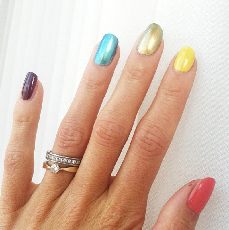Swedish high jumper Emma Green Tregaro competed at the world championships with her fingernails painted in the colours of the rainbow on Thursday, Aug. 15, 2013. (Instagram / emmagreentregaro)