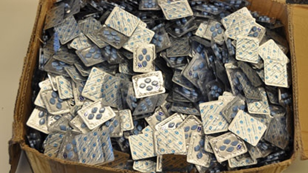 RCMP officers seized about $1 million worth of counterfeit Viagra and Cialis pills, in addition to counterfeit clothing, when they searched a Mississauga warehouse on May 5, 2011. (RCMP)