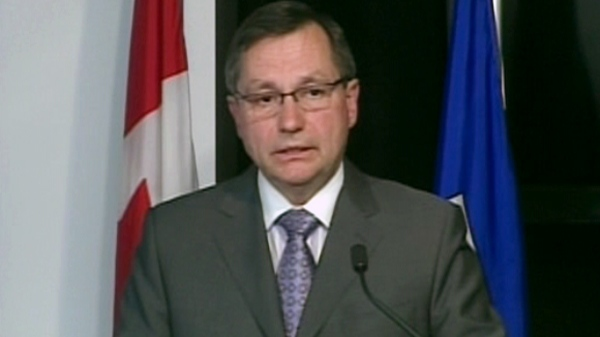 Alberta Premier Ed Stelmach makes a statement on the fire ban across the province in Edmonton, Tuesday, May 17, 2011.