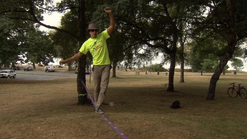 Xavier Vivas keeping his balance on a slack line in Squamish. August 16, 2013. (CTV)