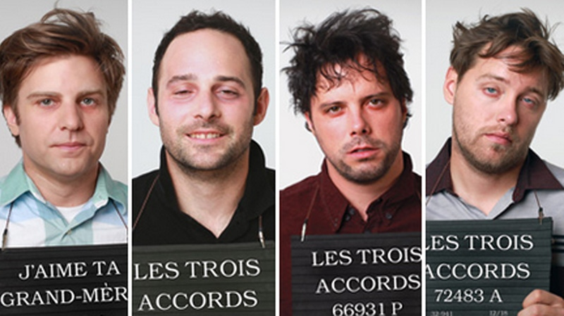The riot began after spectators refused to leave the premises after a concert by the Trois Accords, seen here posing in mock mug shots for their recent CD 