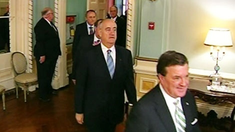 Conservative cabinet members enter Rideau Hall for the swearing-in ceremony in Ottawa on Wednesday, May 18, 2011.
