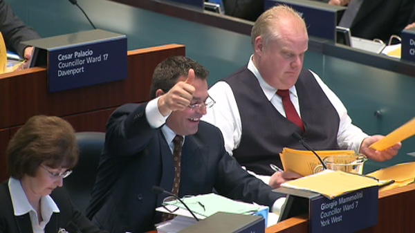Toronto city council voted 32-13 in favour of privatizing garbage collection for homes west of Yonge Street, Tuesday, May 17, 2011.