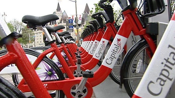 The National Capital Commission launched its BIXI bike program, Wednesday, May 18, 2011. The program makes bikes available for rent at 10 locations in Ottawa-Gatineau.