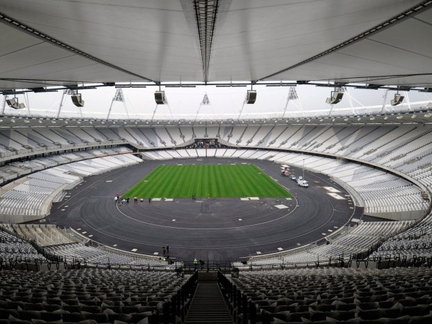 In this Tuesday, March 29, 2011 file photo, a view of the London 2012 Olympic stadium, in London. (AP Photo/Tom Hevezi, File)