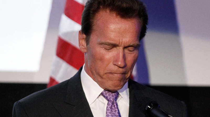 Arnold Schwarzenegger speaks at the Israel 63rd Independence Day Celebration hosted by the Consulate General of Israel in Los Angeles, Tuesday, May 10, 2011. Schwarzenegger was honoured at the event. (AP / Matt Sayles)