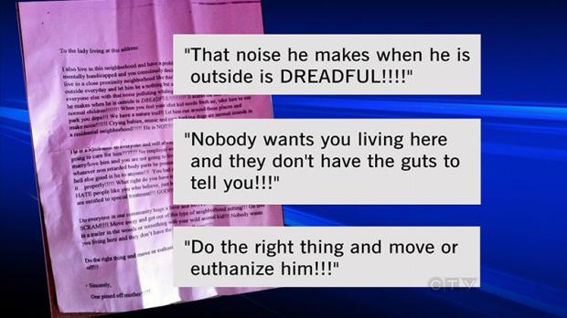 Autistic boy hate letter