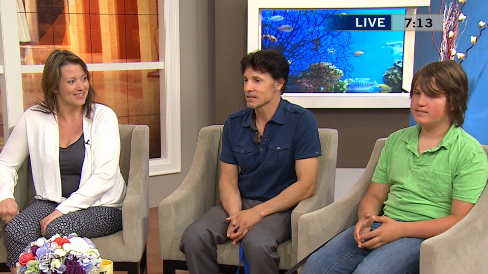 Karla and James Begley along with their son Max Begley appear on CTV's Canada AM in Toronto, Wednesday, Aug. 21, 2013.