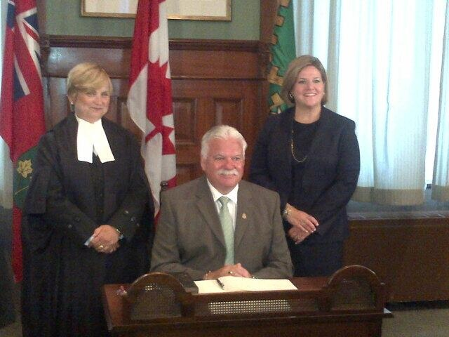 NDP Leader Andrea Horwath tweeted this photo of Percy Hatfield's swearing-in ceremony.