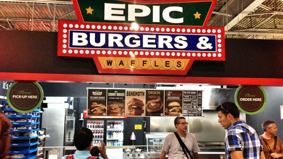 The Epic Burgers & Waffles stand after it was voluntarily shut down at the CNE, in Toronto, Wednesday, Aug. 21, 2013. (John Vennavally-Rao / CTV News)