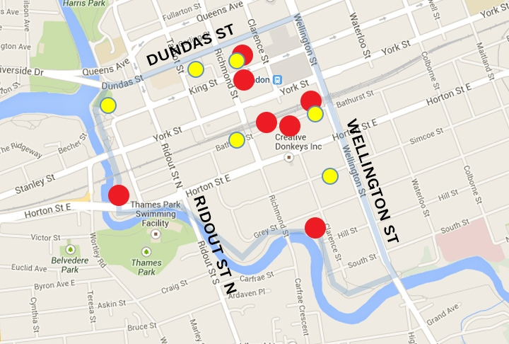 Red dots on the map provided by London Cares indicate locations where more than 100 needles were discarded.