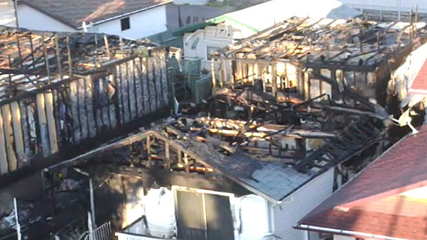 Several homes were damaged in a fire