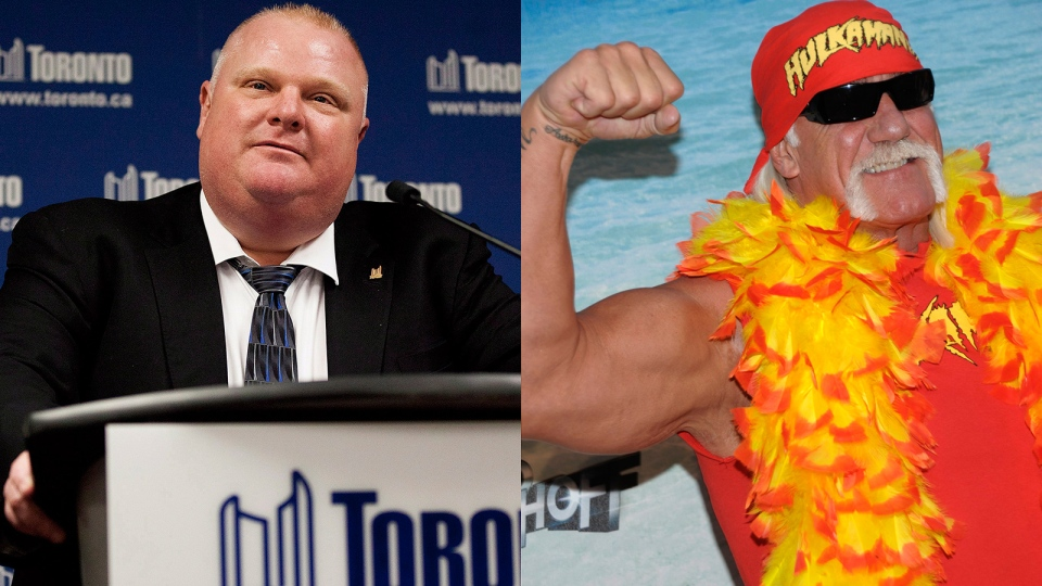 Toronto Mayor Rob Ford's spokesman announced on Twitter that the mayor will be arm wrestling Hulk Hogan, in Toronto, on Friday, Aug. 23, 2013. (Michelle Siu / THE CANADIAN PRESS / AP / Dan Steinberg)