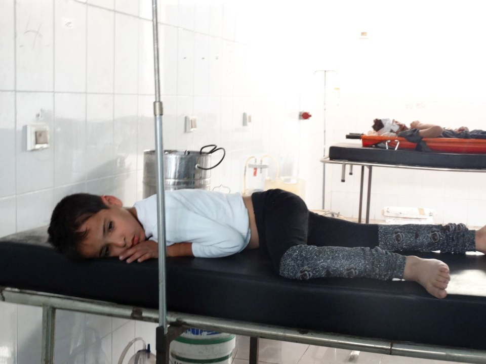 This image provided by Shaam News Network on Thursday, Aug. 22, 2013, which has been authenticated based on its contents and other AP reporting, purports to show a young victim of an attack on Ghouta, Syria recuperating in a hospital.
