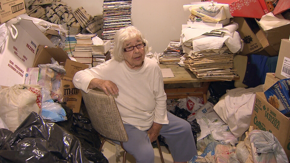 Pauline Jollymour, 91, says her son's hoarding has become worse over the years, and now faces city action to forcibly clean up her house. Aug. 22, 2013 (CTV)