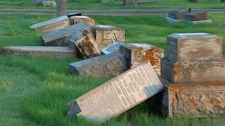 A cemetery in Regina was vandalized last weekend.