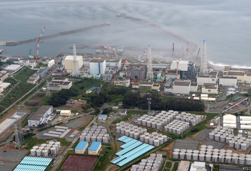 This Tuesday, Aug. 20, 2013 aerial photo shows the Fukushima Dai-ichi nuclear plant at Okuma in Fukushima prefecture, northern Japan. (AP / Kyodo News)