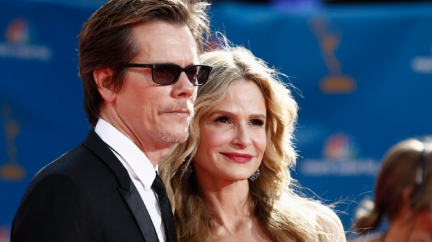 Kevin Bacon and Kyra Sedgwick arrive for the 62nd Primetime Emmy Awards Sunday, Aug. 29, 2010, in Los Angeles. (AP / Matt Sayles)