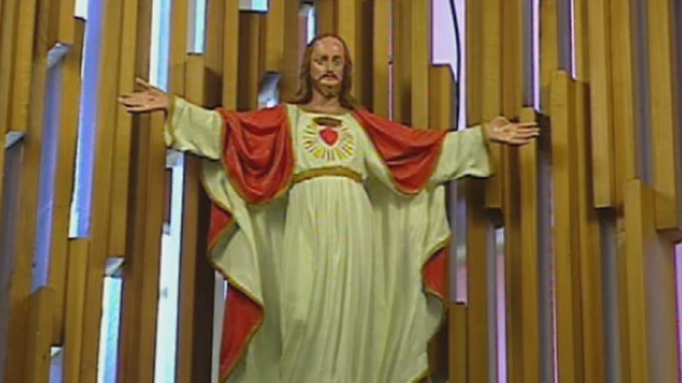 This statue of Jesus Christ is located in the Council Chambers in Saguenay