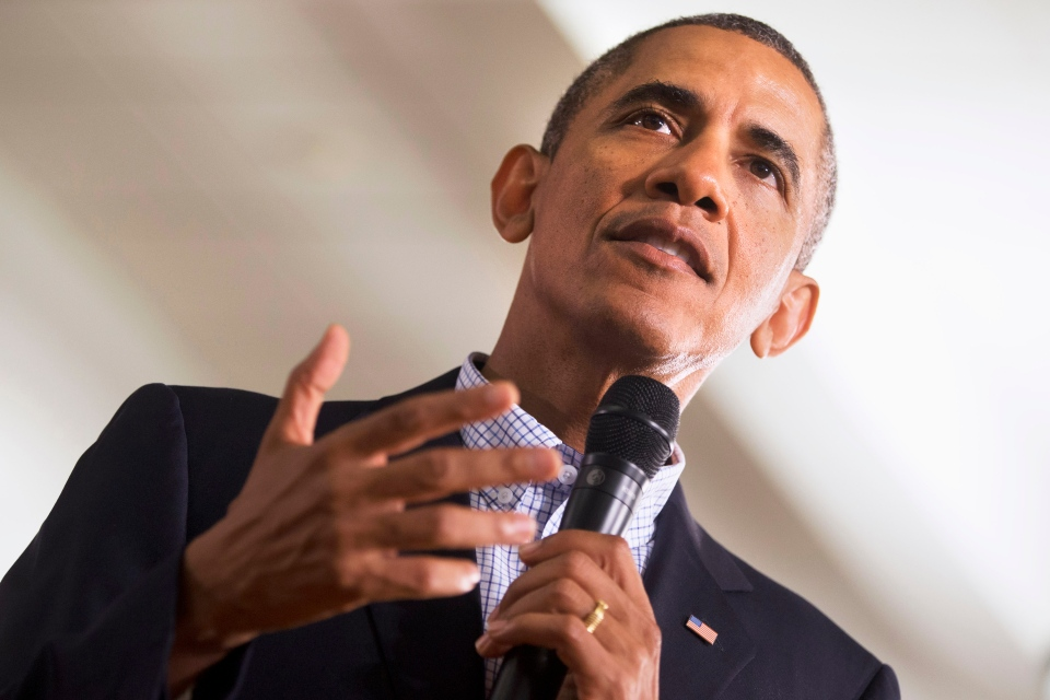 U.S. President Barack Obama speaks during a town hall meeting at Binghamton University, in Vestal, N.Y., Friday, Aug. 23, 2013. (AP / Jacquelyn Martin)