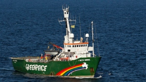 The Greenpeace ship 'Arctic Sunrise' is seen in the Gulf of Mexico off the coast of Louisiana on Oct. 15, 2010. (AP / Gerald Herbert)