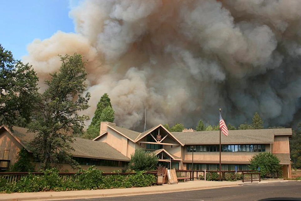 The Rim Fire burns near Groveland Ranger Station in Groveland, Calif., in In this undated photo provided by the U.S. Forest Service.