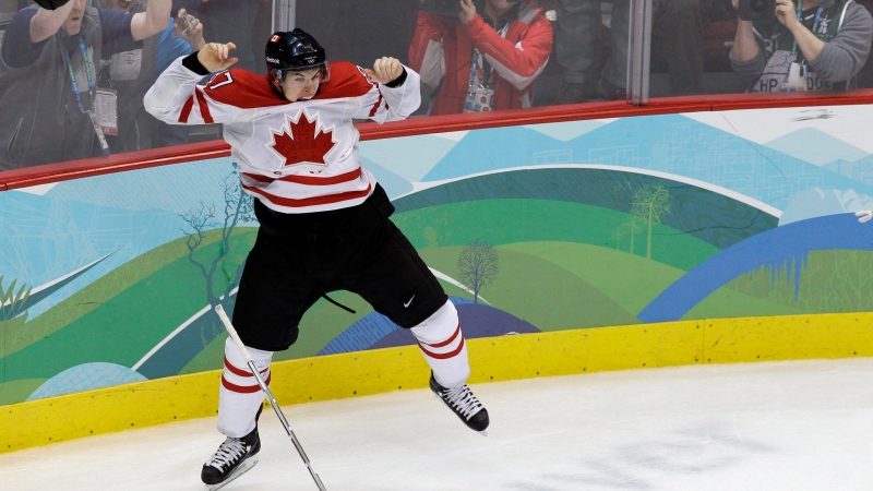 Feb. 28, 2010 file photo of Canada's Sidney Crosby celebrating after scoring the game-winning goal in overtime of the men's gold medal ice hockey game against the United States at the Vancouver 2010 Olympics in Vancouver, British Columbia. (AP Photo/Chris O'Meara, File)