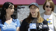 Erin Collins, centre, sister, Bonnie Stow, left, sister, and Ann Stow, right, mother of San Francisco Giants fan Bryan Stow, express thanks during a news conference at a hospital in San Francisco, Monday, May 23, 2011.