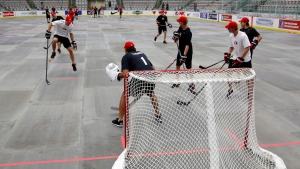 Goalie Roberto Luongo, centre, from Montreal, Que., watches the ball during a ball hockey training session at the Canadian national men's team orientation camp in Calgary, Alta., Monday, Aug. 26, 2013.THE CANADIAN PRESS/Jeff McIntosh