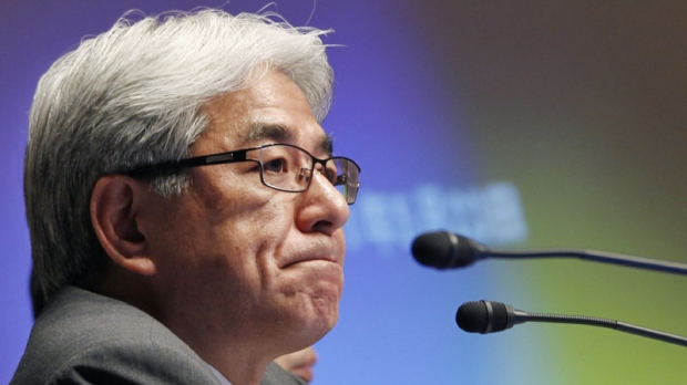 Sony Corp. Chief Financial Officer Masaru Kato reacts during a press conference in Tokyo, Monday, May 23, 2011. (AP Photo/Koji Sasahara)