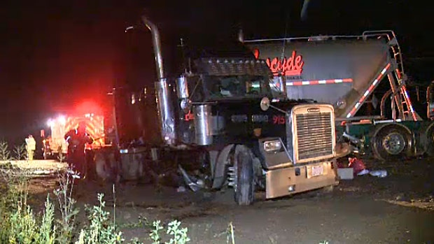 Police say that a southbound semi truck lost control and crossed into oncoming traffic on Highway 63 on Monday night.