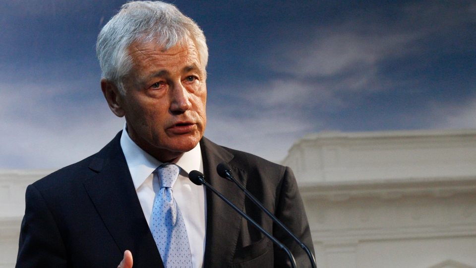 U.S. Defense Secretary Chuck Hagel says U.S. forces are now ready to act on any order by Obama to strike Syria. Hagel is pictured above earlier this week. (AP / Achmad Ibrahim)