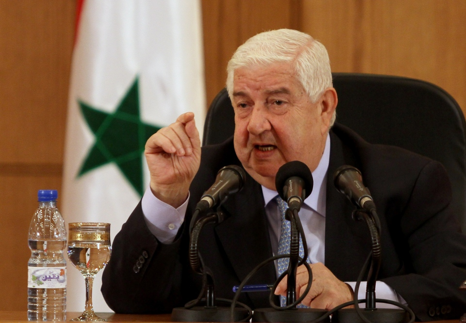 Syrian Foreign Minister Walid al-Moallem speaks during a press conference in Damascus, Syria on Tuesday, Aug. 27, 2013. (AP)