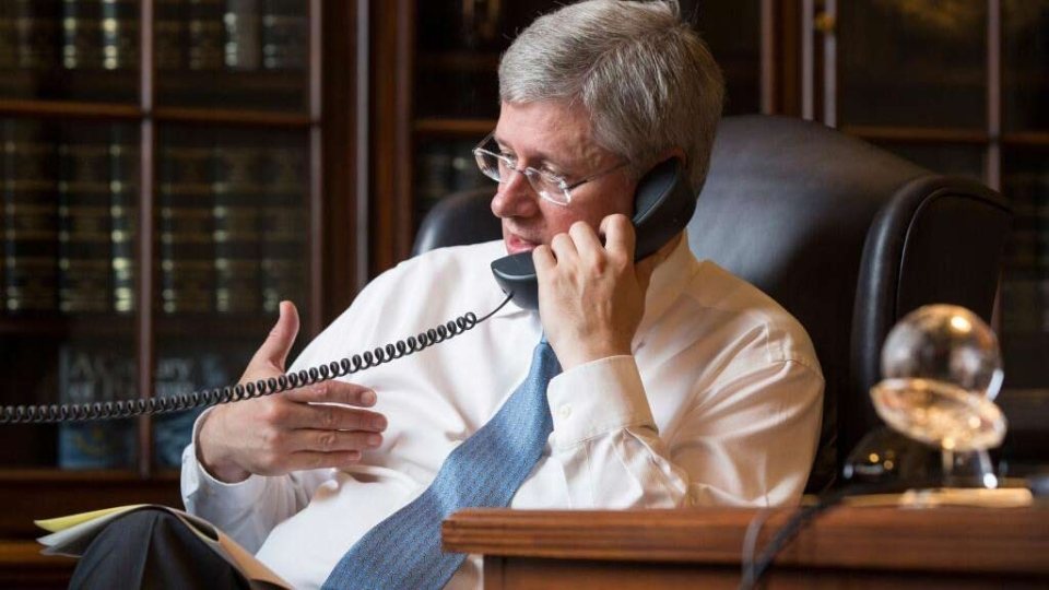 Prime Minister Stephen Harper tweeted this photo of him speaking on the phone with U.S. President Barack Obama about Syria, Tuesday, Aug. 27, 2013. (Prime Minister's Office)
