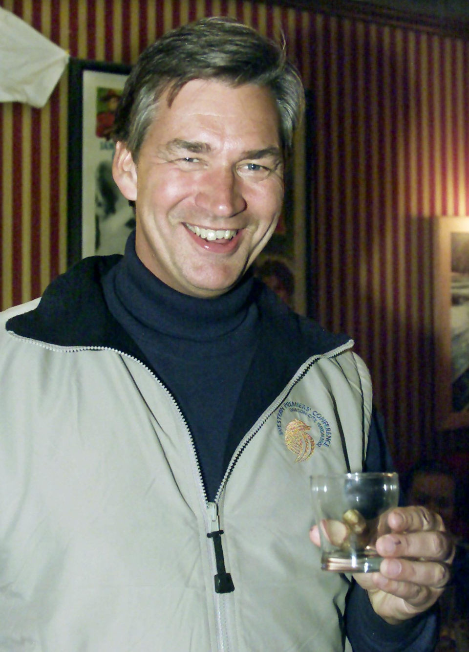 The pickled human toe is shown in a cocktail glass of Yukon Jack Whiskey at the Sourdough Saloon in Dawson City, Yukon, Wednesday, June 5, 2002. (Chuck Stoody / THE CANADIAN PRESS)