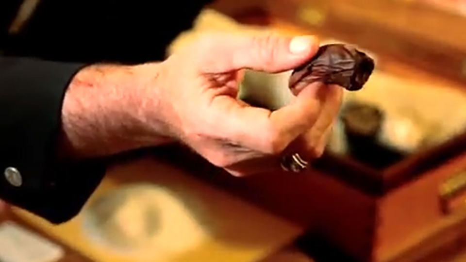 A toe captain is seen holding a severed toe before putting into a drink in this image taken from YouTube.