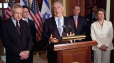 Israeli Prime Minister Benjamin Netanyahu gestures while speaking on Capitol Hill in Washington, Tuesday, May 24, 2011. (AP / Evan Vucci)