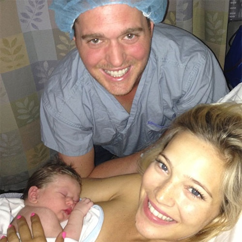 Michael Buble, his wife and their newborn son Noah are shown in the hospital in this photo posted to the Canadian singer's Instagram.