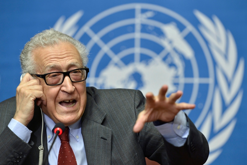 The UN Joint Special Representative for Syria Lakhdar Brahimi speaks on developments related to Syria during a press conference at the European headquarters of the United Nations in Geneva, Switzerland, Wednesday, Aug. 28, 2013. (Keystone / Martial Trezzini)