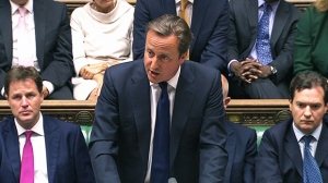 British Prime Minister David Cameron debates Syrian military action in British parliament, Thursday, Aug. 29. 2013.