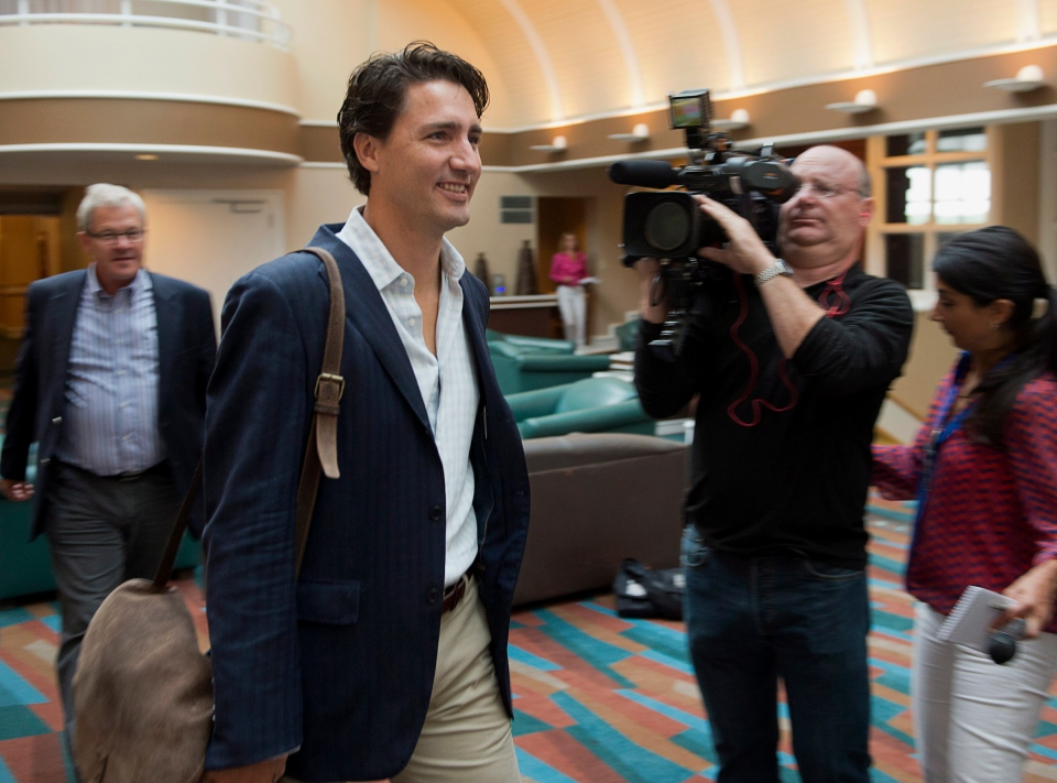 Liberal leader Justin Trudeau arrives at the party's caucus retreat in Georgetown, P.E.I. on Thursday, Aug. 29, 2013. (THE CANADIAN PRESS/Andrew Vaughan)