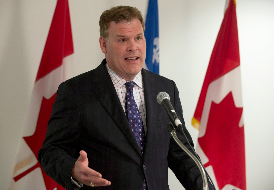 Foreign Affairs Minister John Baird speaks to reporters following his meeting with President of the Syrian National Council George Sabra in Montreal, Wednesday, August 28, 2013. (Graham Hughes / THE CANADIAN PRESS)