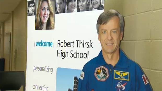 Welcome sign at Robert Thirsk High School
